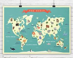 continents on map continent map etsy