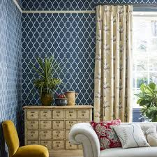empire trellis by sanderson indigo linen wallpaper direct