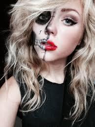 Half Skull Halloween Makeup by Cute Half Skull Makeup Mugeek Vidalondon