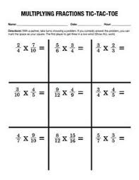 multiplying and dividing fraction game of tic tac toe math