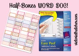 half boxes using word and mailing labels victoria thatcher