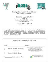 alumni concert dinner ticket order form 001 bands of santiago sharks