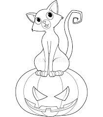 halloween cat pumpkin coloring royalty free stock image