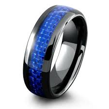black and blue wedding rings mens black ceramic wedding band with blue woven carbon fiber inlay