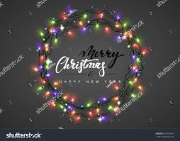 New Christmas Lights by Merry Christmas Happy New Year Lettering Stock Vector 502829749