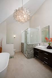 modern bathrooms designs and remodeling htrenovations the vaulted ceiling and contemporary chandelier really make a statement in this spa master bathroom in north wales pa