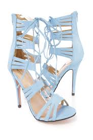 Light Blue High Heels Light Blue Peep Toe Lace Up Strappy High Heels Faux Leather