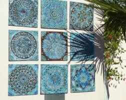 garden decor outdoor wall and ceramic tiles by gvega on etsy
