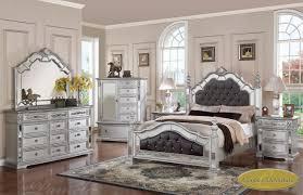 Queen Bedroom Set With Mirror Headboard And Silver Bedroom Furniture On Mirrored Headboard Bedroom