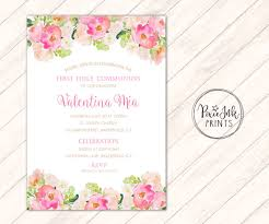 communion invitations for girl watercolor communion invitation girl communioninvitation pink