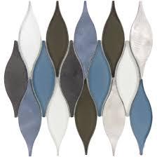unique shapes blue glass and metal unique shapes tile glossy