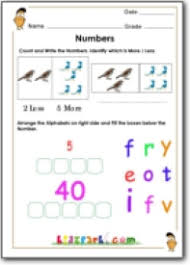 counting and number name activity printable worksheet for class 1