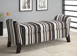Ottoman Storage Bench Striped Storage Arm Bench Ottoman Modern Accent And Storage For