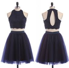 navy blue two pieces short homecoming dresses modest pretty