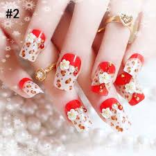 latest red and white combination eid party nail art designs 2017