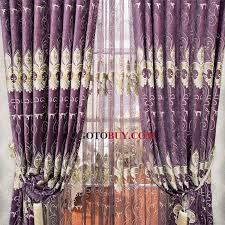 Silver Purple Curtains Elegant Curtains Room Darkening Silver Floral Embroidery Buy