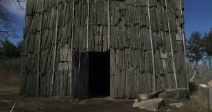 iroquois longhouse in a reconstructed 15th century native american