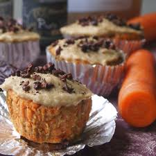 healthy carrot cake muffins with cashew cream chz frosting