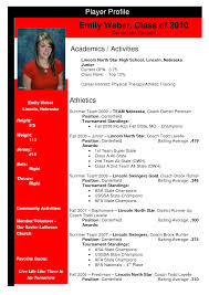 Athletic Resume Template Sports Profile Template Softball Profile Sample Sample Profile