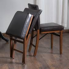 folding dining chairs amazon com rosalynn brown leather dining chairs set of 2 chairs