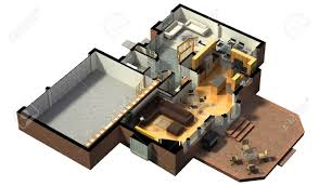 Floor Plan Residential 3d Rendering Of A Furnished Residential House With The First