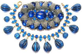 blue glass necklace vintage images Art deco montana blue rhinestone glass jewelry pieces jpg