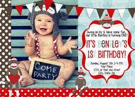 sock monkey 1st birthday invitations cimvitation