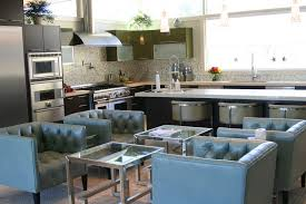 kitchen blue leather chair and small glass table in living