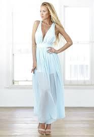 Light Blue Chiffon Dress Baby Blue Chiffon Plunge Neckline Maxi Dress