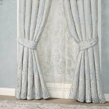 Pale Blue Curtains Couture Waterfall Valance Window Treatment