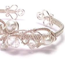 weave wire bracelet images Crystal and pearl wire weave bridal cuff bracelet handmade jpg