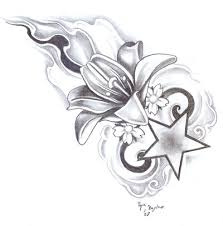 lily flower and star tattoo design by bogdanpo
