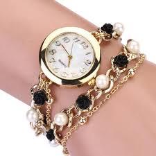 pearl fashion bracelet images Fashion women imitation pearl chain bracelet watch flowers watch jpg