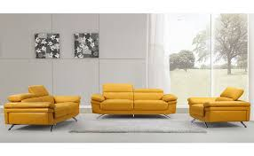 Modern Style Sofa Everett Modern Style Yellow Leather Sofa