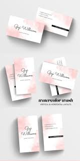 watercolor wash business card template u2014 charming ink