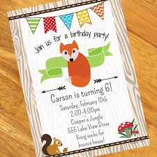 fox birthday personalized invitations