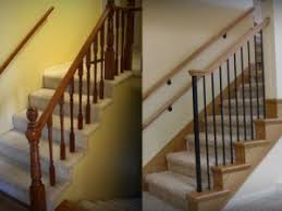 Banister Ends Change Carpet Wrapped Stairs With Wood End Caps Home Improvement