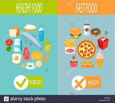 food vector healthy food and fast food vector infographic stock vector art