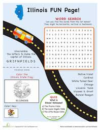 illinois fun facts worksheets geography and word search