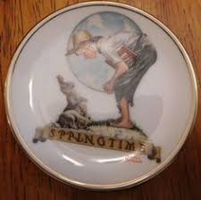 cool item thanksgiving mini plate norman rockwell collectibles