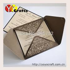 Wedding Invitation Pocket Envelopes Aliexpress Com Buy 50sets Coffie Color Luxury Wedding Invitation