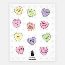 feminist conversation hearts stickers sticker sheets and