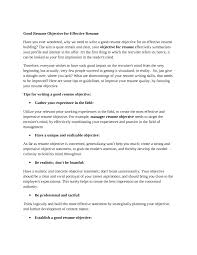 Best Resume Summary Great Objectives For Resumes 4 Good Objective Resume Samples How