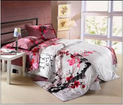 Japanese Comforter Set Unique Red Cherry Blossom Bedding 98 For Floral Duvet Covers With