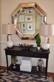 Home Decor With Foyer Decor With Entryway Console Table And Large Silver Mirror
