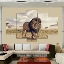 aliexpress com buy 5 panels canvas print lion king painting on