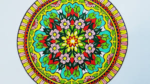 coloring book mandala with pink flowers youtube