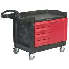 rubbermaid service cart with cabinet rubbermaid commercial products 26 25 small utility cart in red black