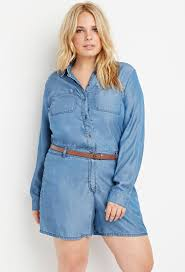 forever 21 plus size belted chambray romper in blue lyst