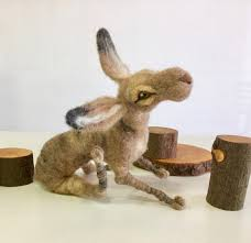 needle felted hare wool hare felted rabbit wolf rabbit forest